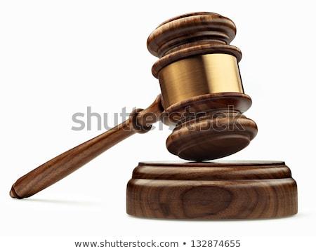 木製 裁判官 小槌 白 法 正義 ストックフォト © janssenkruseproducti