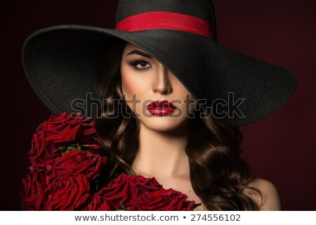 Stock photo: Beauty make up with glamour hairstyle with hat