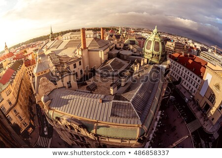 high angle view of the narrow street and obecni dum municipal h stock photo © kirill_m