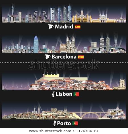 Stockfoto: Skyline · Portugal · mooie · oude · binnenstad · schemering · wijn