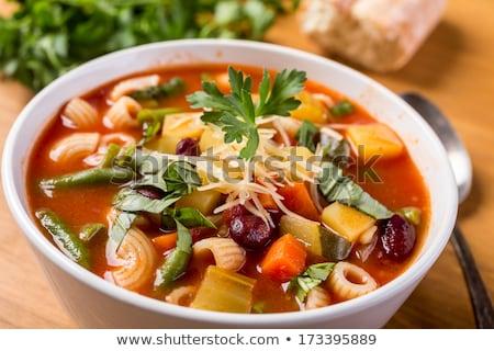 Stockfoto: Kom · soep · voedsel · pasta · groenten · maaltijd