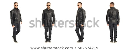 side portrait of a cool man in leather jacket stock photo © feedough