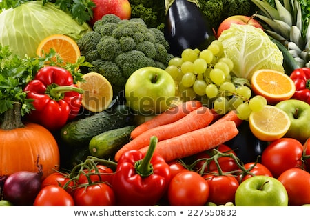 Rauw voedsel voedsel vruchten winkelen kaas olie Stockfoto © M-studio