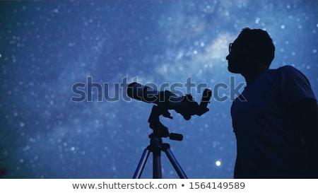 néz · távcső · illusztráció · égbolt · természet · hold - stock fotó © raywoo