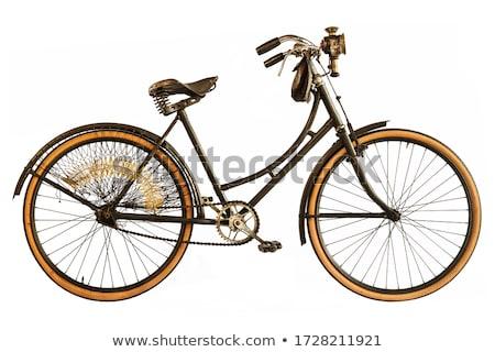 Rétro vélo dame isolé blanche design Photo stock © NikoDzhi