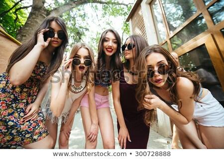 Сток-фото: пять · молодые · красивой · девочек · город · ходьбе