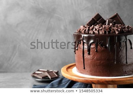 Bolo de chocolate férias comida chocolate vela torta Foto stock © M-studio