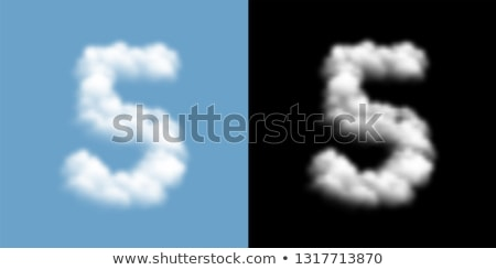 Number 5 cloud font symbol. White Alphabet sign five on blue sky Stock photo © popaukropa