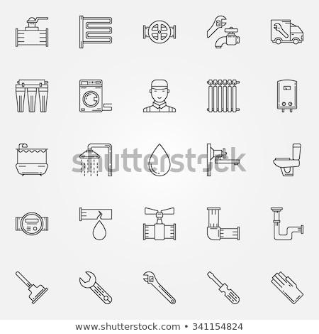 Symbol Sanitär linear Stil modernen line Stock foto © Olena