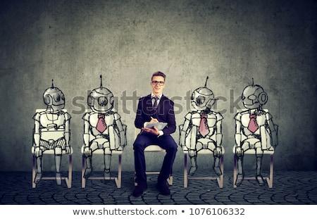 Stock fotó: Robot · vs · emberi · emberiség · technológia · pop · art