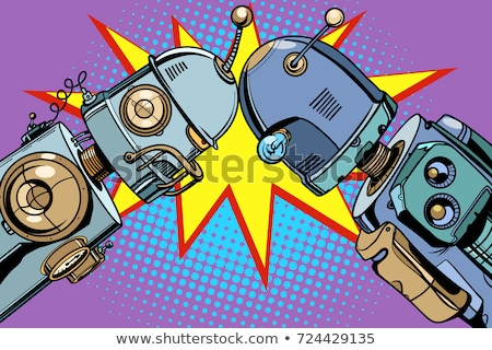 Foto stock: Edad · robot · vs · nuevos · vintage · ilustraciones