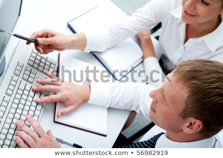 blue business idea keypad on keyboard stock photo © tashatuvango