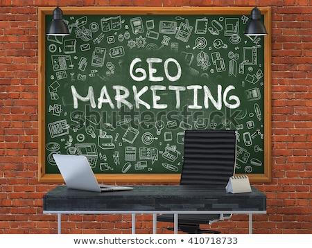 Green Chalkboard with Hand Drawn Geo Marketing Stock photo © tashatuvango