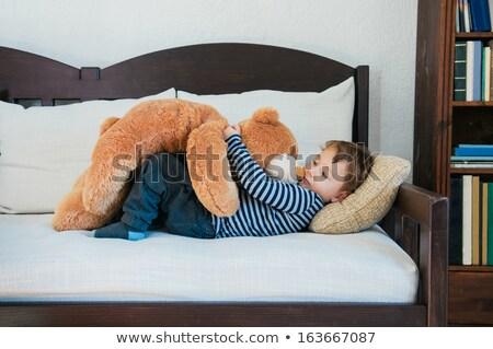 Menino criança ursinho de pelúcia chá copo Foto stock © IS2