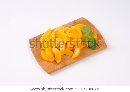 Geschält geschnitten Pfirsiche Silber Löffel Obst Stock foto © Digifoodstock