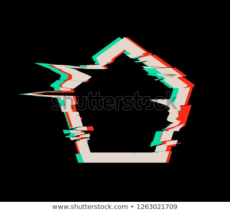 Glitch distortion frame. Vector pentacon illustration Stock photo © m_pavlov