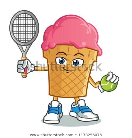теннисный мяч талисман Cartoon спортивных рук стороны Сток-фото © Krisdog