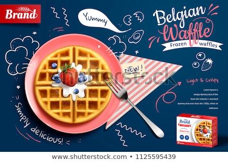 ベクトル 朝食 孤立した 白 ベルギー ワッフル ストックフォト © freesoulproduction