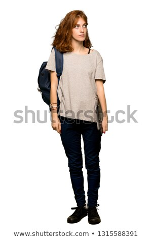 Imagen jengibre estudiante mujer mochila Foto stock © deandrobot