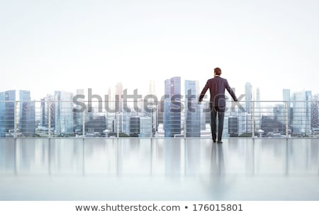 Zakenman permanente kantoorgebouw illustratie business gebouw Stockfoto © bluering