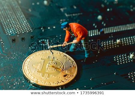 Travailleur minière pièce illustration affaires argent Photo stock © bluering