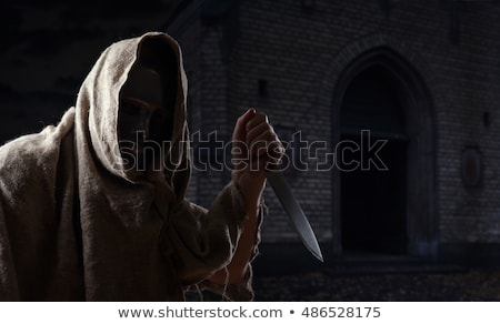 Człowiek strony nóż cmentarz ilustracja strony Zdjęcia stock © adrenalina