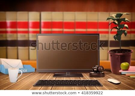 ноутбука экране молоток книгах древесины технологий Сток-фото © wavebreak_media