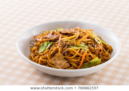Tészta zöldségek sült disznóhús tányér friss zöldségek Stock fotó © mpessaris