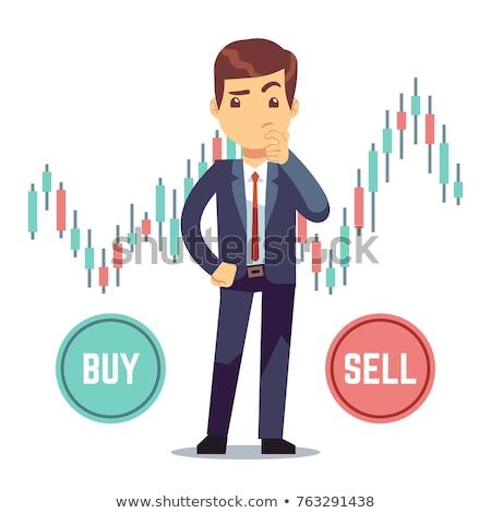 Pośrednik mężczyzna wektora wykresy danych handlowy Zdjęcia stock © pikepicture
