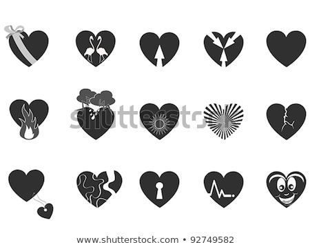 Vectors set with black heart shaped tags Stock photo © Pravokrugulnik