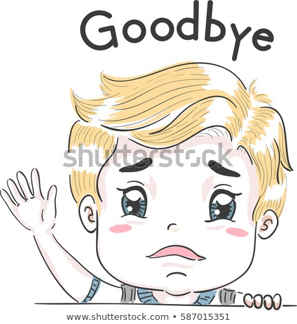 kid boy goodbye wave sad stock photo © lenm