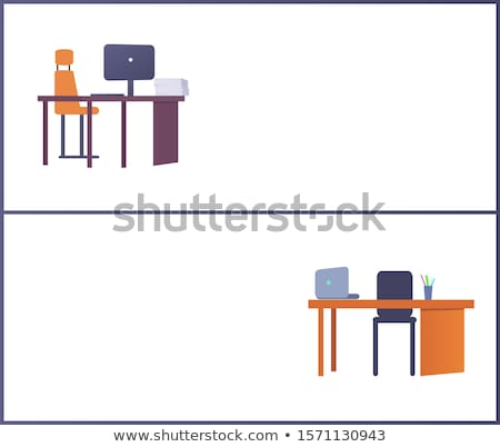 Office Workplace Web Posters Set with Empty Tables Stock photo © robuart