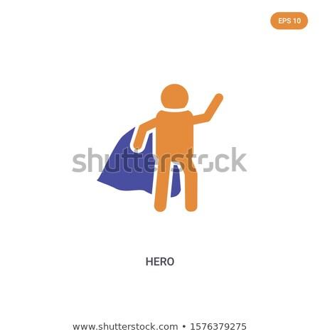 Süper kahraman adam turuncu mavi ayarlamak Stok fotoğraf © toyotoyo