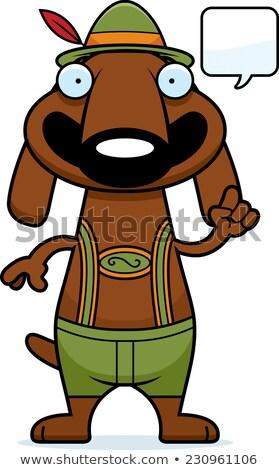 Karikatur Dackel Lederhosen sprechen Illustration Hund Stock foto © cthoman