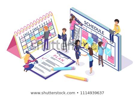 Menetrend terv poszter nagy papír naptár Stock fotó © robuart