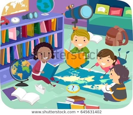 дети география чтение комнату иллюстрация изучения Сток-фото © lenm
