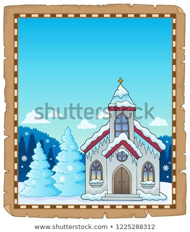 Winter church theme parchment 1 Stock photo © clairev