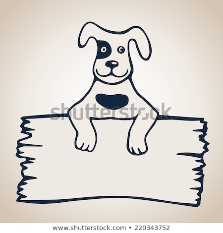 Cartoon chien bord carte illustration drôle Photo stock © izakowski