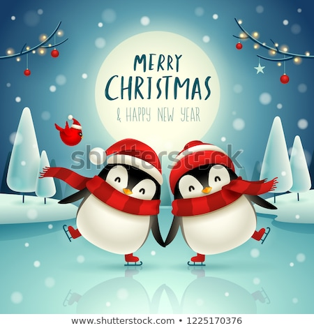 küçük · iki · aşıklar · penguen · balonlar · form - stok fotoğraf © ori-artiste