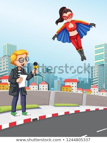 News reporter urban scene with super hero Stock photo © colematt