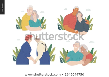 Indian Old Woman Vector. Senior Person Portrait. Elderly. Aged. Animation Creation Set. Sari. Face E Stock photo © pikepicture