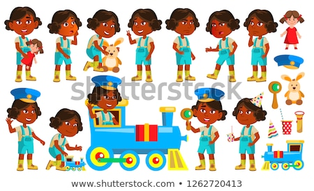Indian Girl Kindergarten Kid Poses Set Vector. Hindu. Playing With Railway Train. Child Expression.  Stock photo © pikepicture