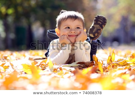 Closeup of young boy playing with Autumnal leaves Stock photo © ruslanshramko