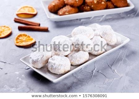 Házi készítésű görög sütik mandulák porcukor diók Stock fotó © mpessaris