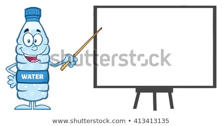 Foto stock: Talking Water Plastic Bottle Cartoon Mascot Character Using A Pointer Stick By A Presentation Board