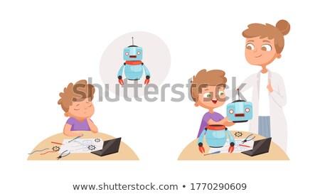 cartoon · weinig · robot · retro · tekening · idee - stockfoto © cthoman