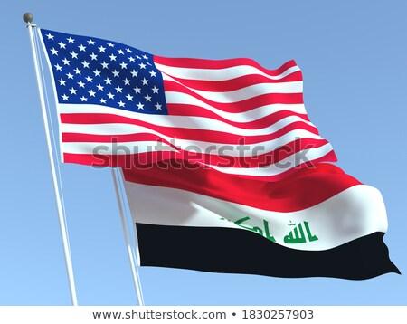 Dois bandeiras Estados Unidos Iraque isolado Foto stock © MikhailMishchenko