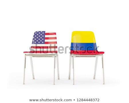 Two chairs with flags of US and colombia isolated on white Stock photo © MikhailMishchenko