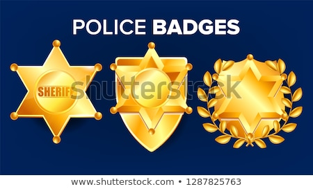 Sheriff Badge Vector. Golden Star. Western Style. 3D Realistic Illustration. Stock photo © pikepicture