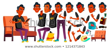 Asian Teen Boy Vector. Teenager. Emotional, Pose. Face Emotions, Various Gestures. Animation Creatio Stock photo © pikepicture